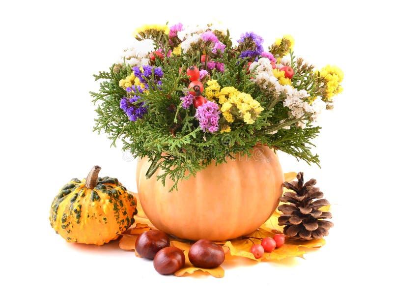 Flower arrangement with pumpkin vase. Fall flower arrangement with pumpkin vase over white royalty free stock photography