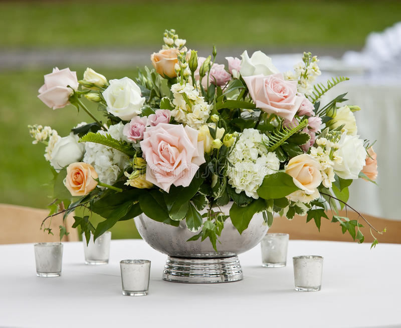 Download Flower Arrangement In Silver Bowl Stock Photo - Image: 31473464