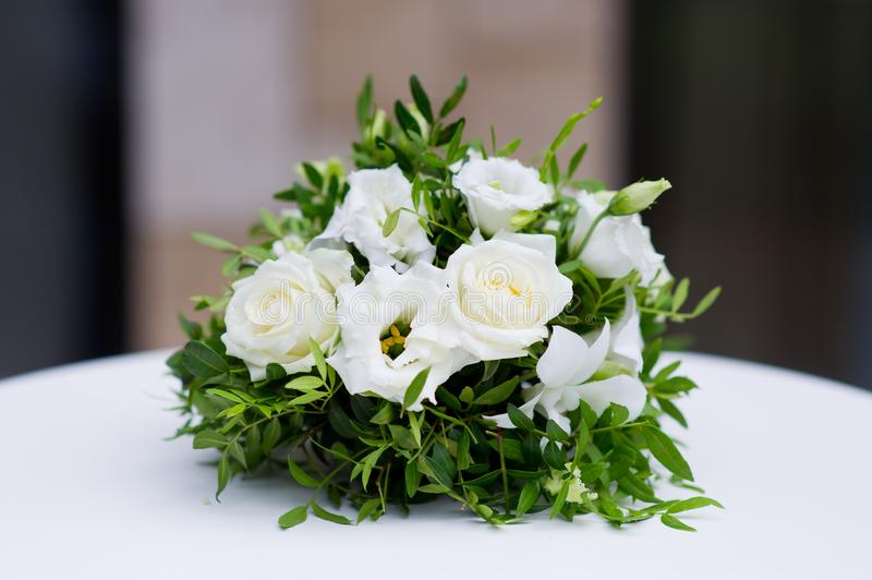 Flower arrangement on a table stock photo