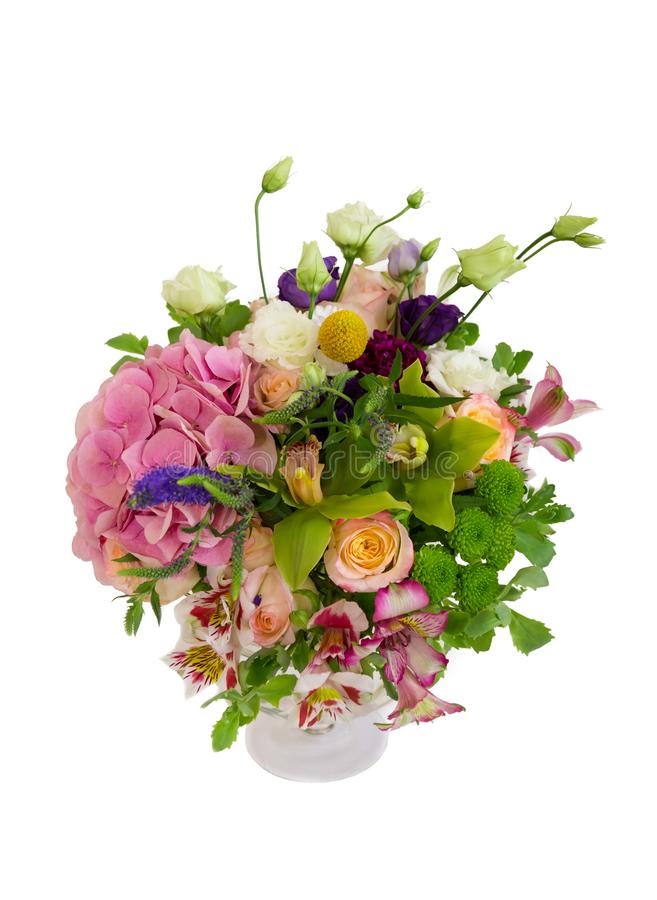 Fresh bouquet with hydrangea, orchid and alstroemeria stock images