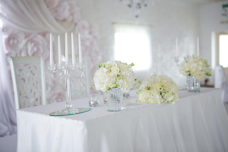 Flower arrangements on the table. Luxury flower arrangements on the table stock photography