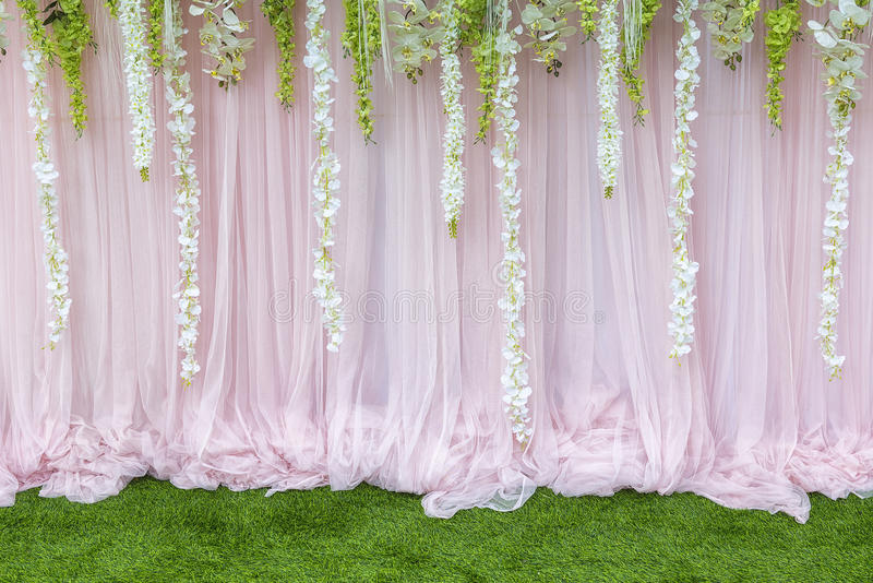 Three Jaw Dropping Indoor Banff Wedding Ceremonies: Flower Backdrop,the Backdrop In The Wedding Ceremony Stock
