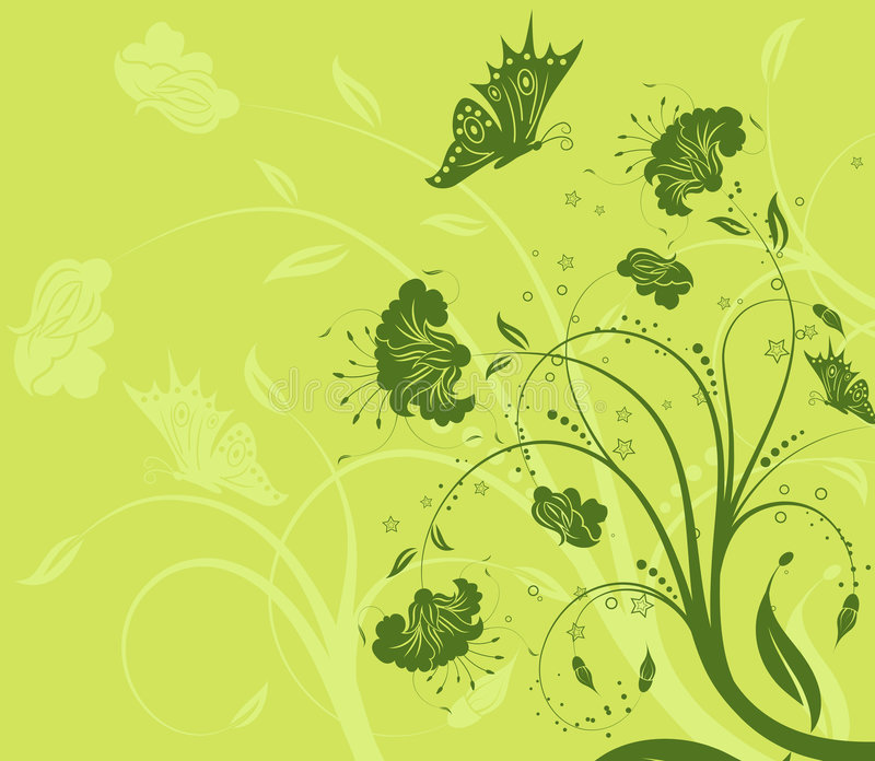 Flower background with butterf vector illustration