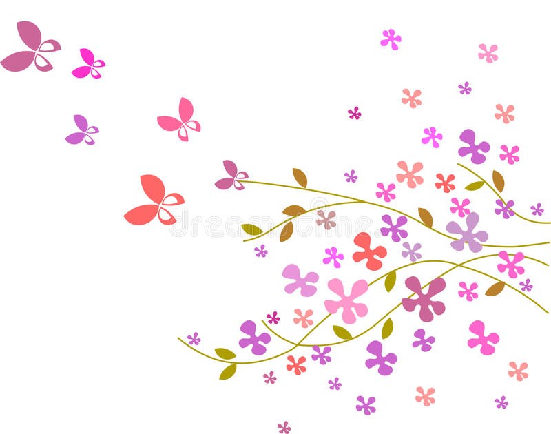 Flower background with butterflies -3 vector illustration