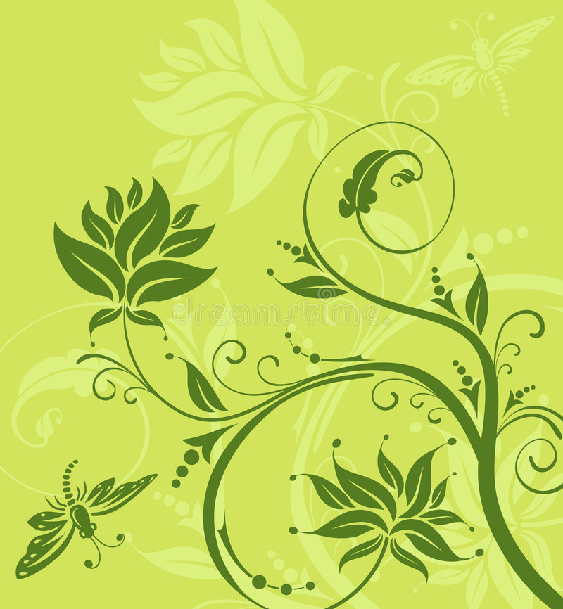 Flower background with dragonfly stock images