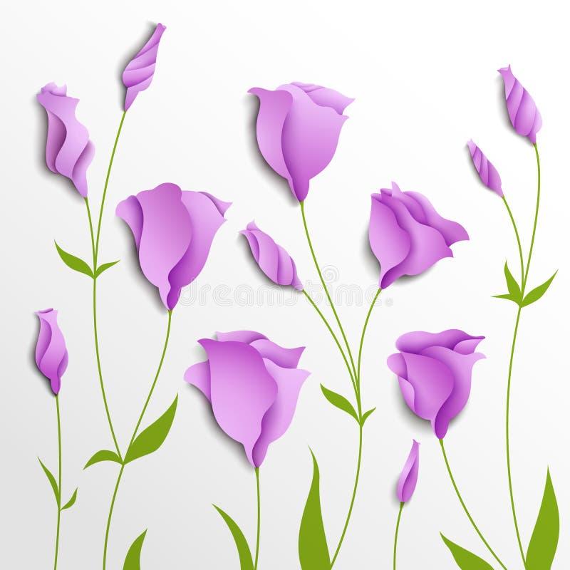 Flower background. Lilac eustoma stock illustration