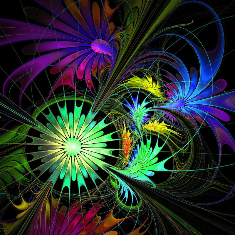 Fractal Black Flower Free Stock Photo: Flower Background. Purple And Green Palette. Fractal