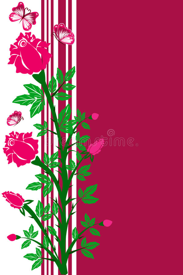 Flower background of roses and butterflies royalty free illustration