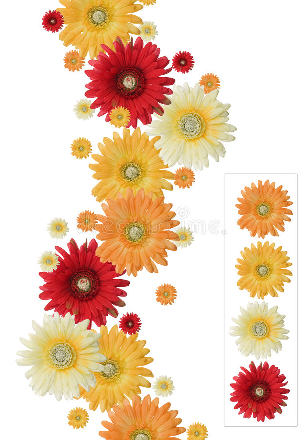 Flower banner. Vertical yellow, orange and red flower banner isolated on white background
