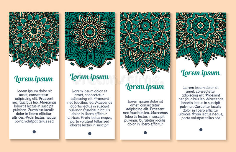 Flower banner template with mandala floral pattern royalty free illustration