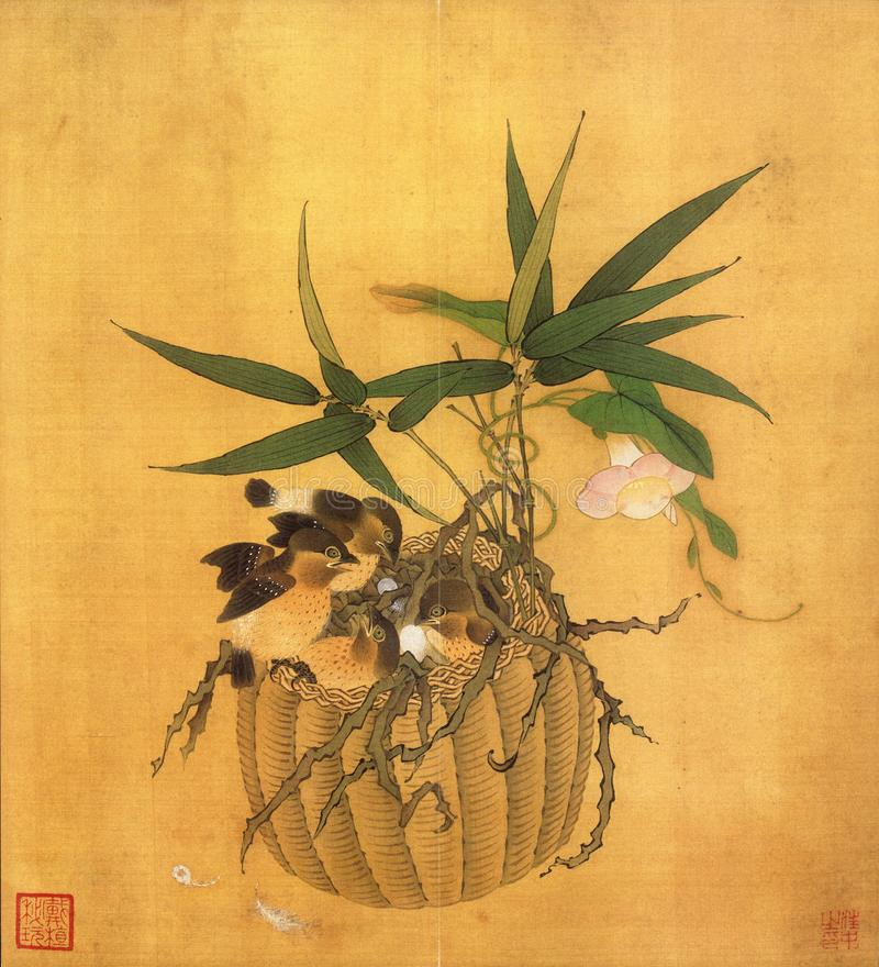 Flower basket and Flower art. According to Chinese tradition, bird-and-flower painting covers `flowers, birds, fish, and insects` Traditional Chinese: Simplified royalty free stock images