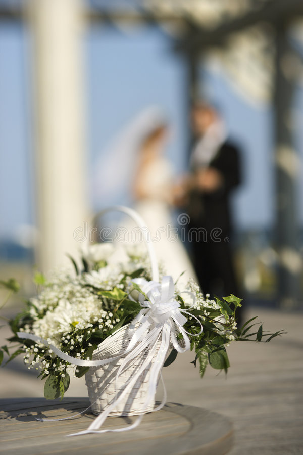 Download Flower Basket With Bride And Groom. Stock Image - Image: 2038265