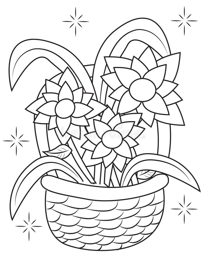 Flower Basket Coloring Page Stock Illustration Image 51089234