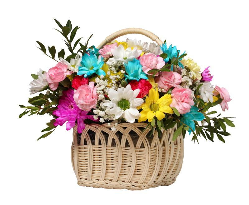 Flower basket isolated on white background. stock photos