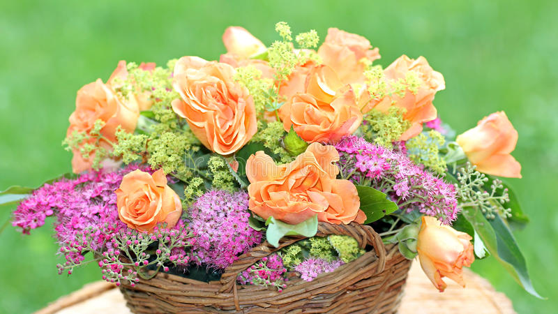 Flower basket with roses and spiraea in the garden. Braided flower basket with roses and spiraea in the garden royalty free stock photography