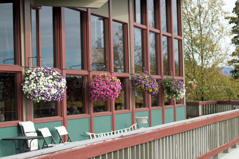Flower Baskets on a Deck royalty free stock photos