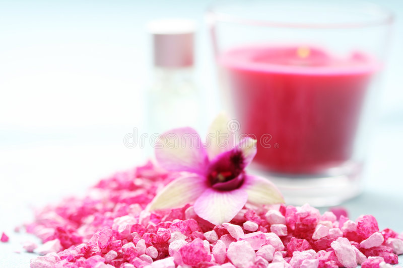 Flower bath salt royalty free stock photos