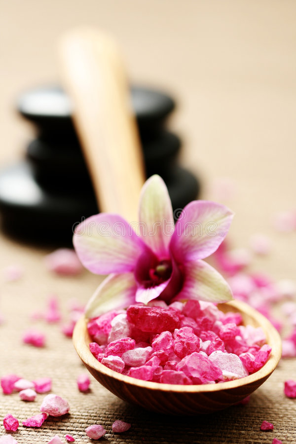 Flower bath salt stock images