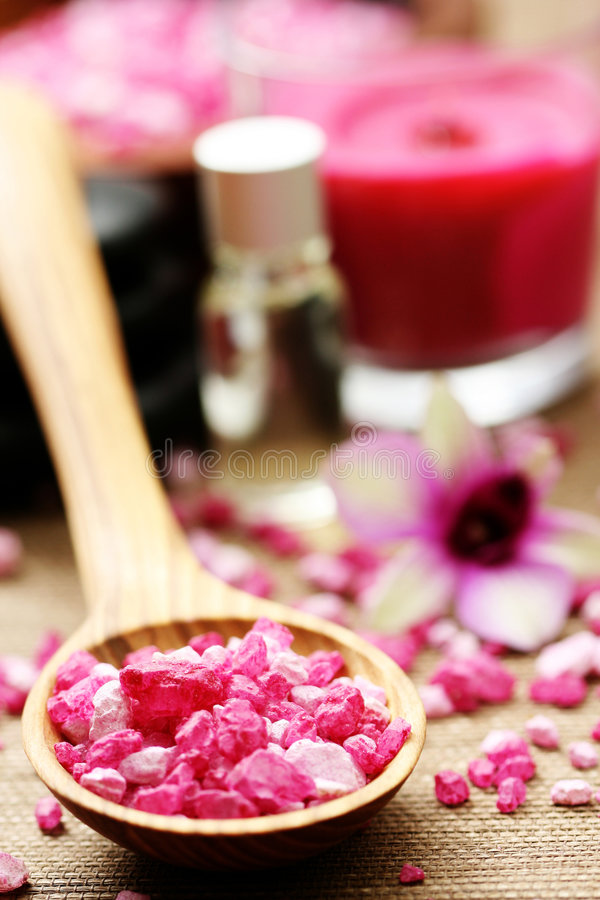Flower bath salt royalty free stock images