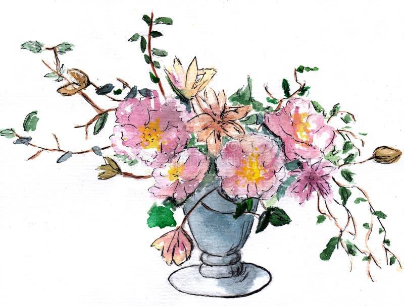 Flower beautiful illustration watercolor blossom pink vase stock illustration