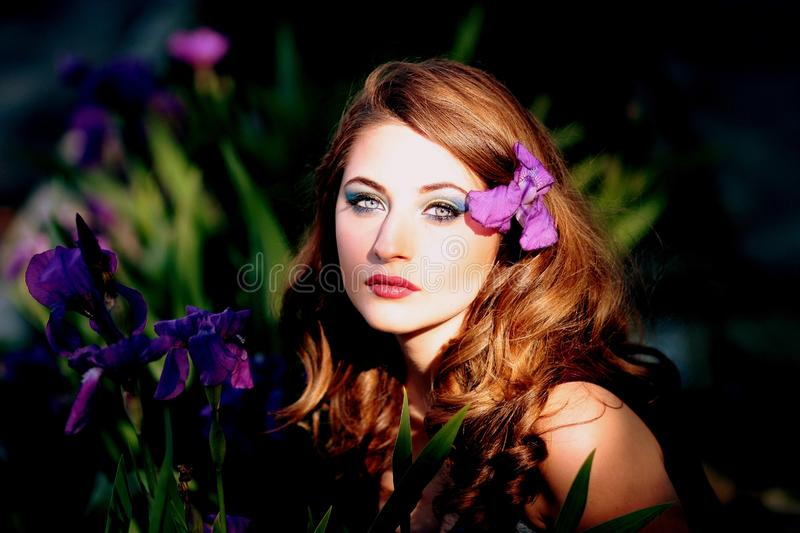 Flower, Beauty, Human Hair Color, Purple stock image