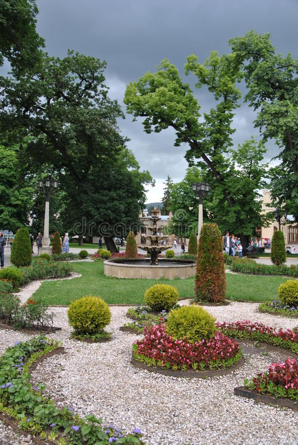Flower bed in front of the Narzan gallery in the spa park of Kislovodsk stock images