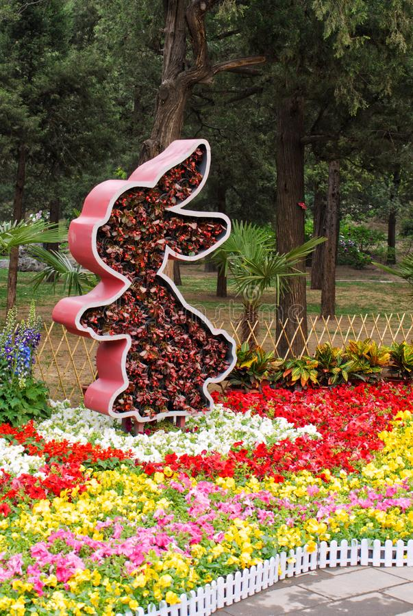 Flower bed of rabbits form with fresh flowers are on beds with bright multicoloured flowers. In the park stock photos