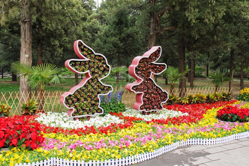 Flower bed of rabbits form with fresh flowers are on beds with bright multicoloured flowers. In the park stock image
