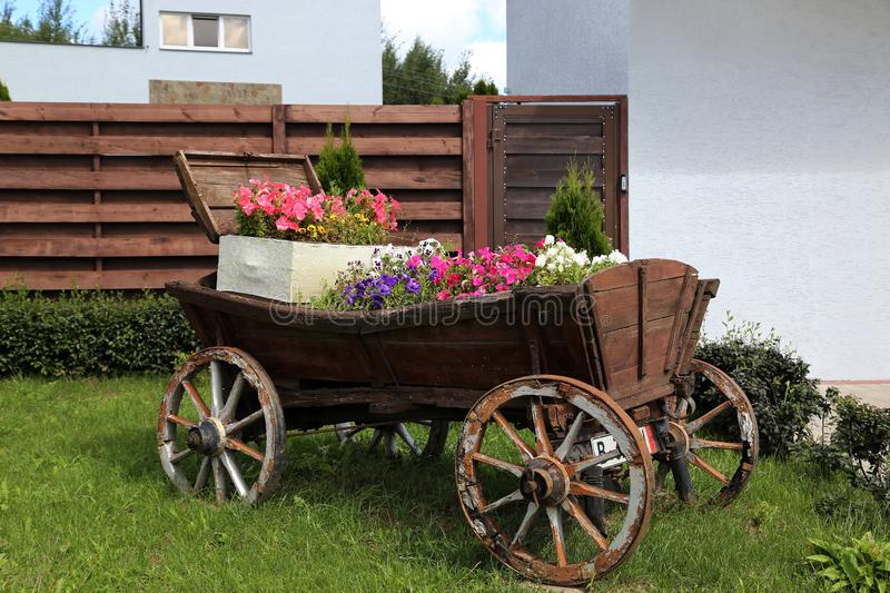 A flower bed stylized as a cart stock images