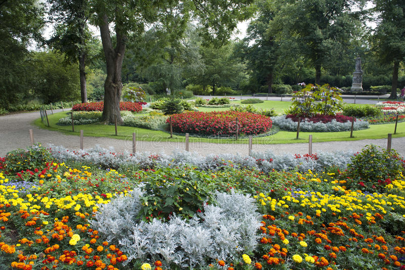 Flower Beds in Park stock photo