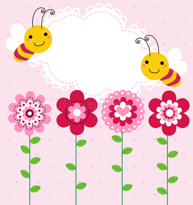 Flower and bee stock illustration