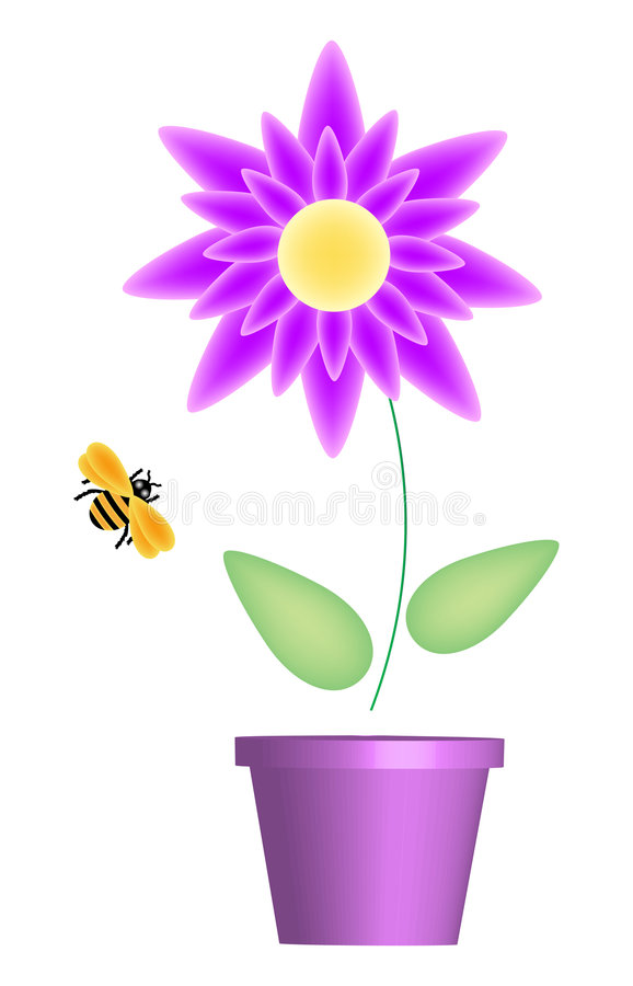 Download Flower and Bee Purple stock illustration. Image of flying - 9008300