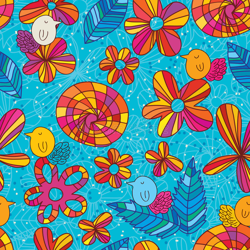 Flower bird blue style seamless pattern stock illustration