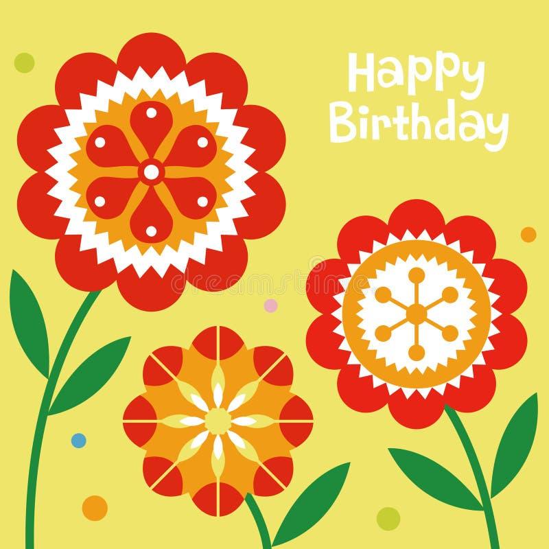 Flower birthday card design vector illustration