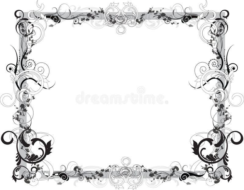 Flower Black and White Frame stock illustration
