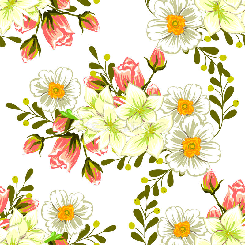 Flower blossom. Abstract elegance seamless pattern vector illustration