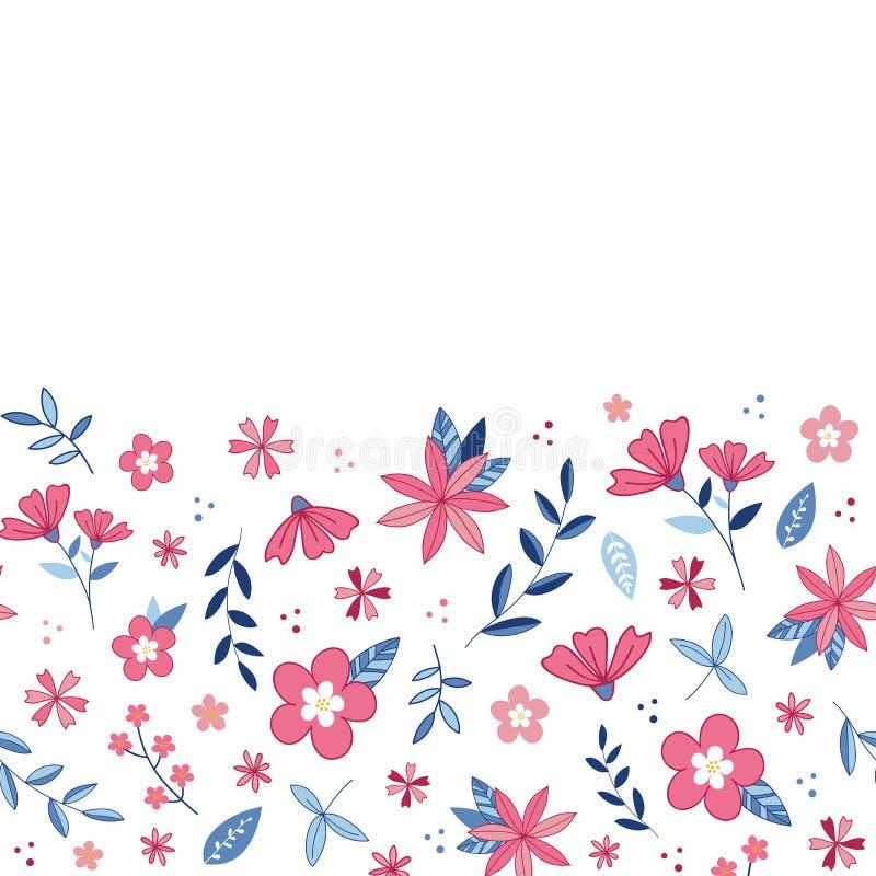 Flower blossom garden vector border pattern.White background. Illustration - Vector royalty free illustration
