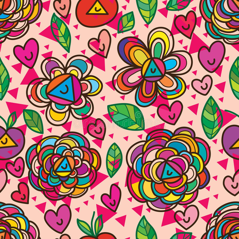 Flower blow triangle seamless pattern royalty free illustration