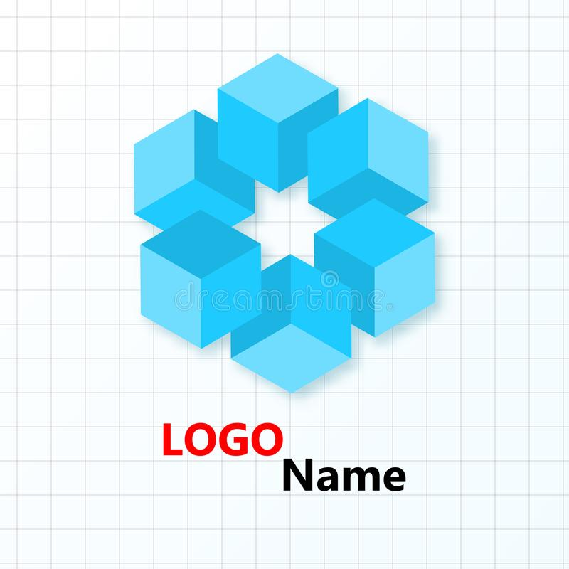 Flower of blue cubes on the background of the cells. Logo design. Logo name royalty free illustration