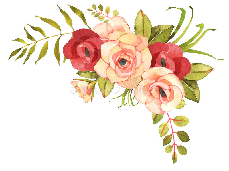 FLower Bohemian Bouquet With Roses Stock Illustration - Illustration ...