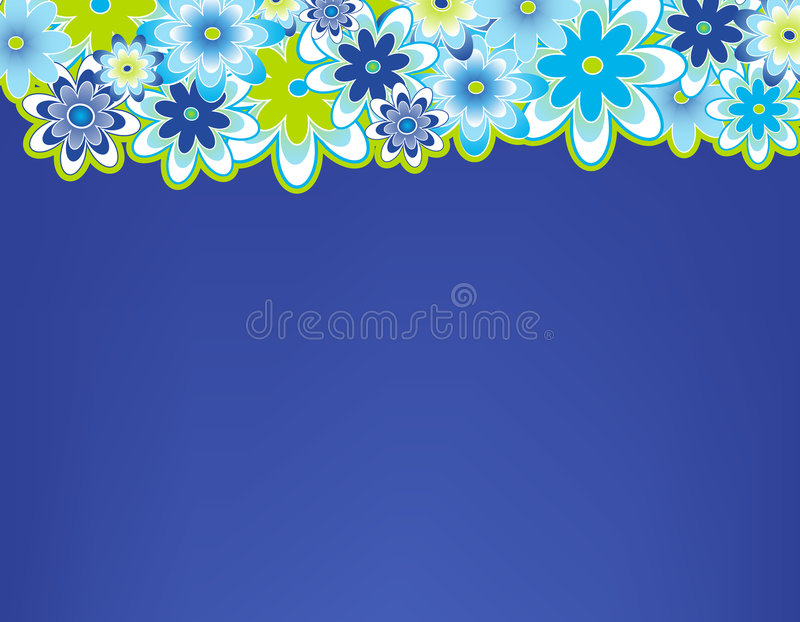 Flower border. Top of page bordered with spring flowers stock illustration