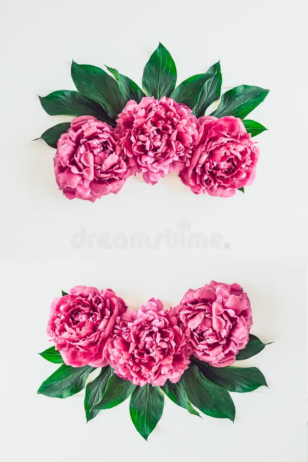 Flower border frame made of bright pink buds peony bouquet on a white wooden background. Floral texture mockup. Flat lay, top view royalty free stock photography
