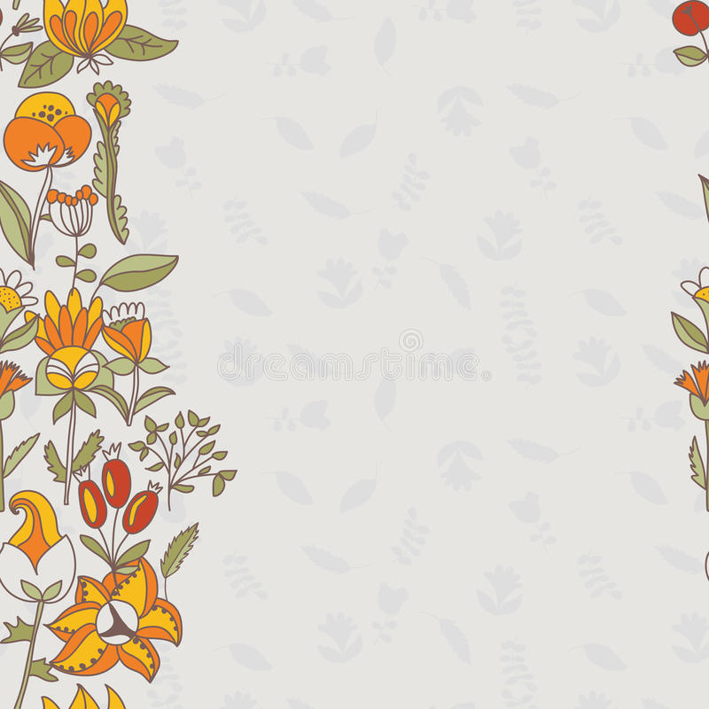 Flower border, seamless texture with flowers. Use as greeting card. Full color seamless floral background stock illustration