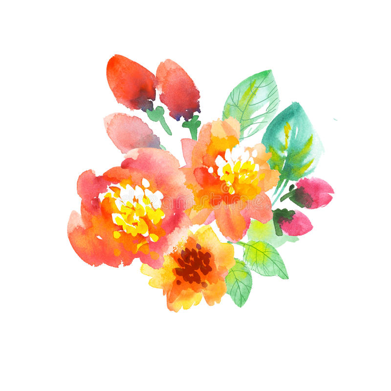 Watercolor Flowers Illustration Hand Drawn Yellow And Orange Summer
