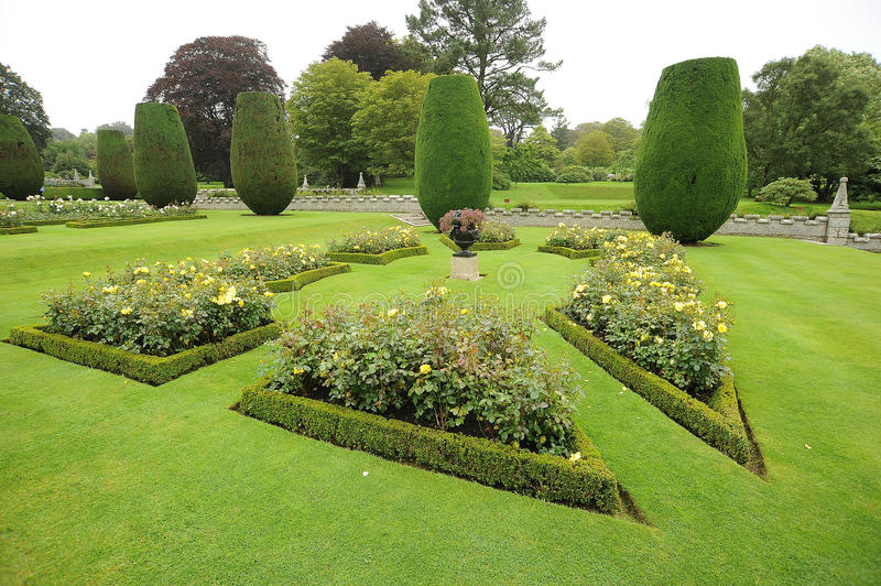 Flower borders. In public garden stock photo