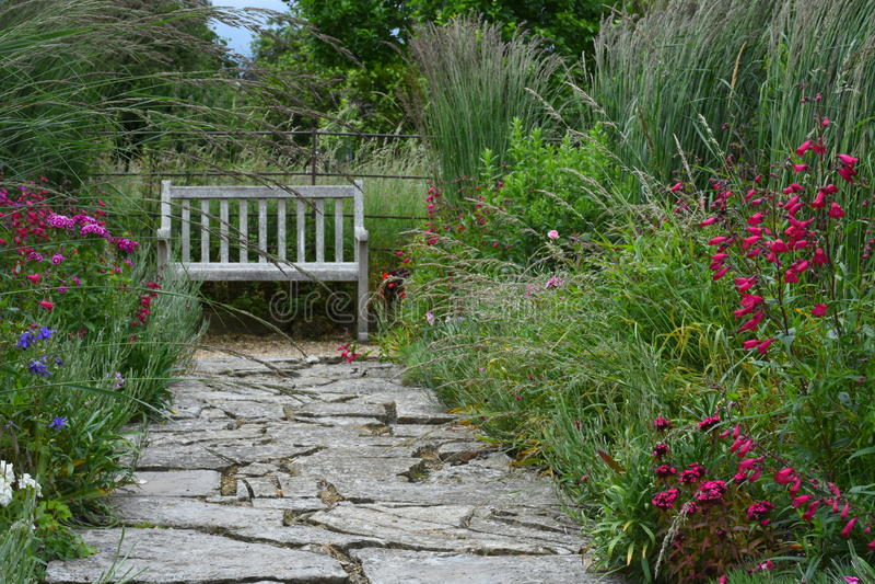 Flower Borders, Tintinhull Garden, Somerset, England, UK stock image