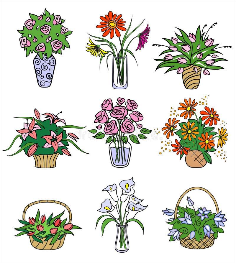 Flower bouqets in vases. Vector illustration. 9 flower bouqets in vases. Vector illustration stock illustration