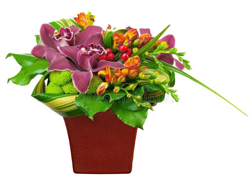 Download Flower Bouquet Arrangement Centerpiece In Vase Isolated On White Stock Image - Image: 33227651