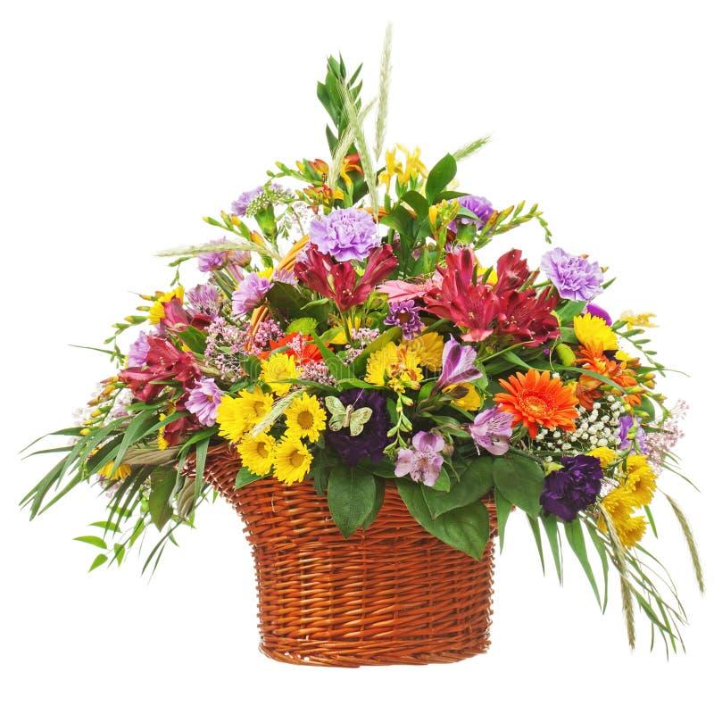 Flower bouquet arrangement centerpiece in wicker basket