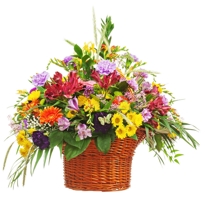 Flower bouquet arrangement centerpiece in wicker basket isolated. On white background. Closeup royalty free stock photography